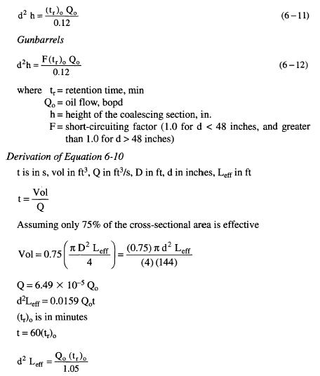 Treater Separator Retention Time Equations